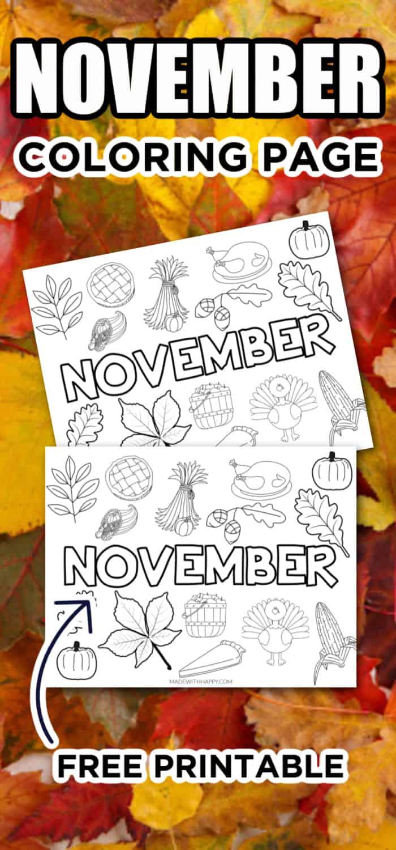 November Coloring Sheets for Kids