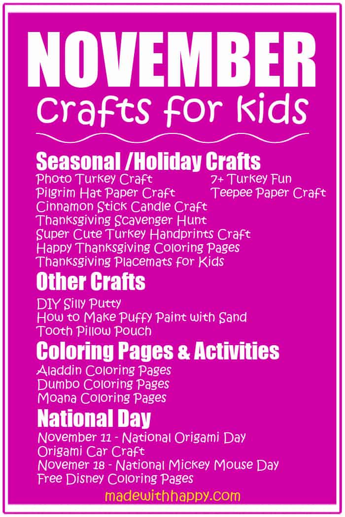 November Crafts For kids