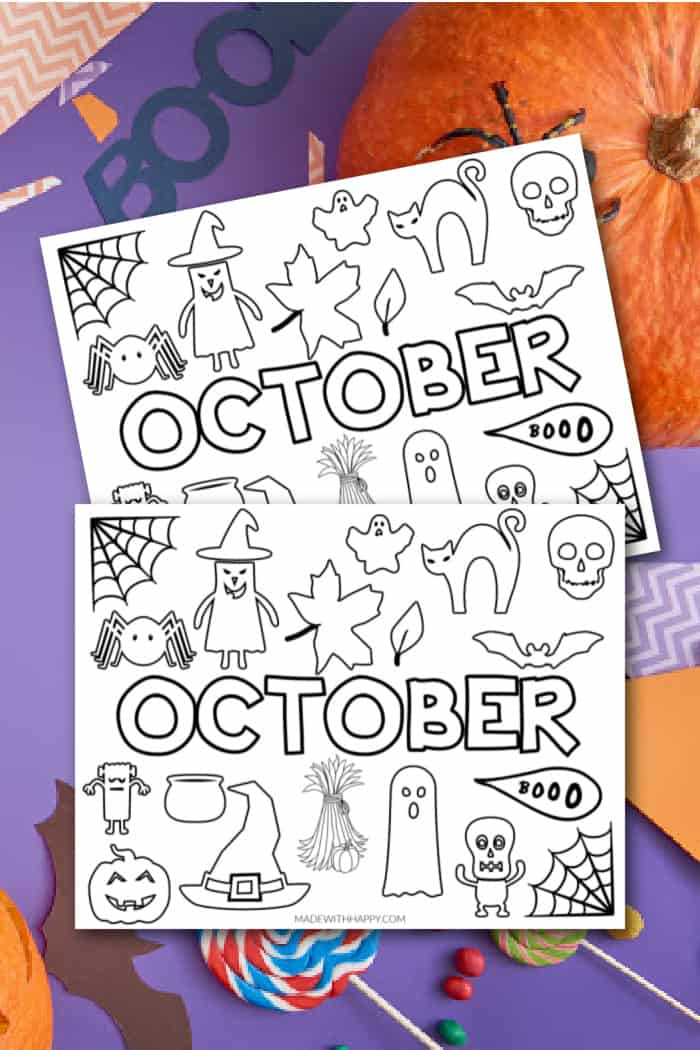 Monthly Coloring Page of October