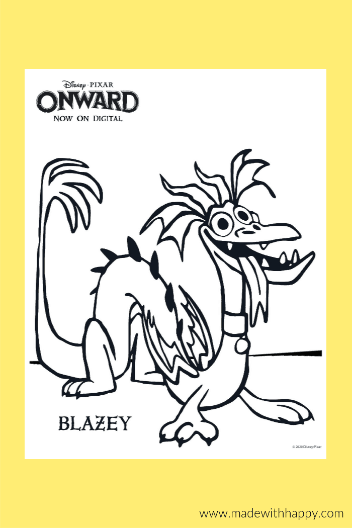 Onward Coloring Page of Blazey