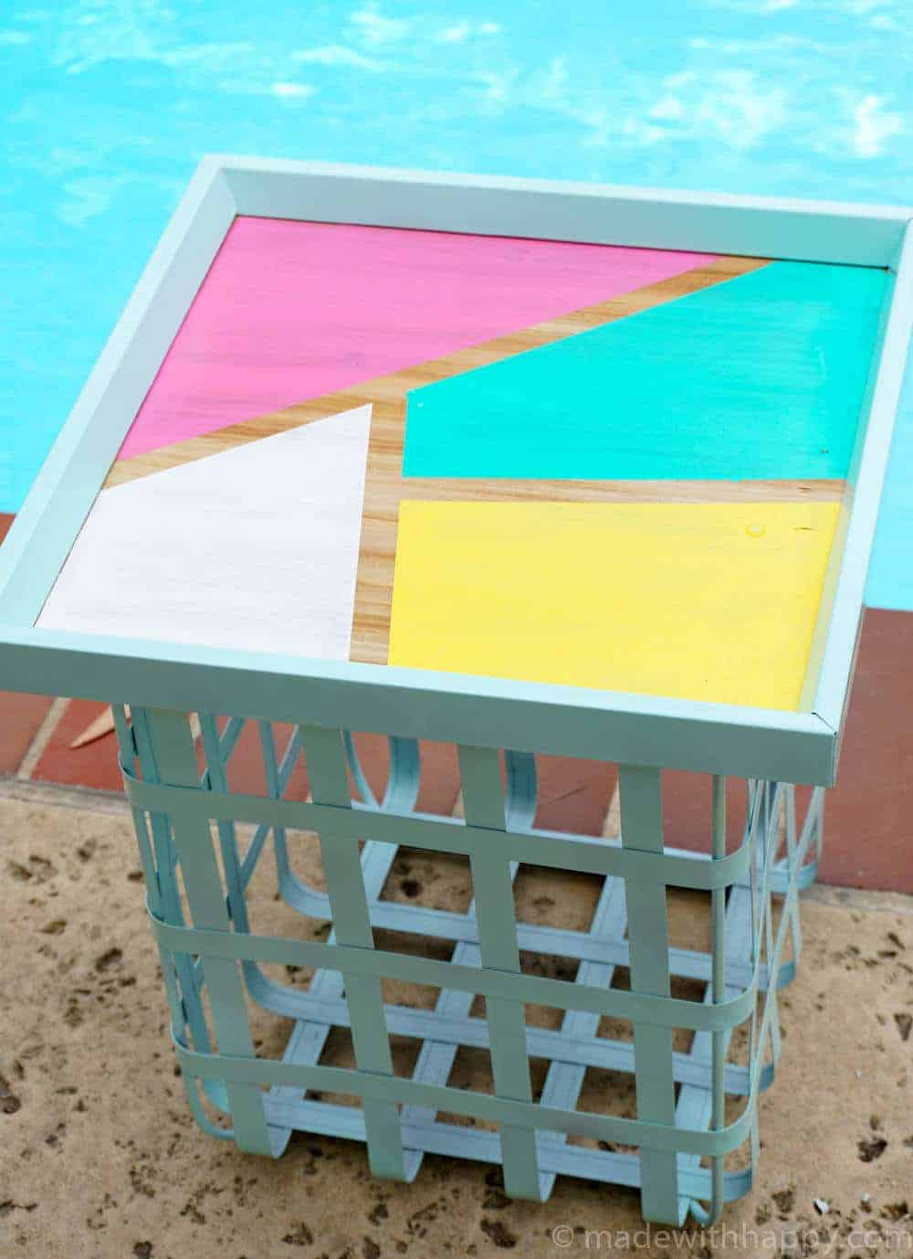 DIY Outdoor Storage Table   Pool Side Table   Pool Storage DIY   Bright Colored Backyard Furniture   www.madewithhappy.com