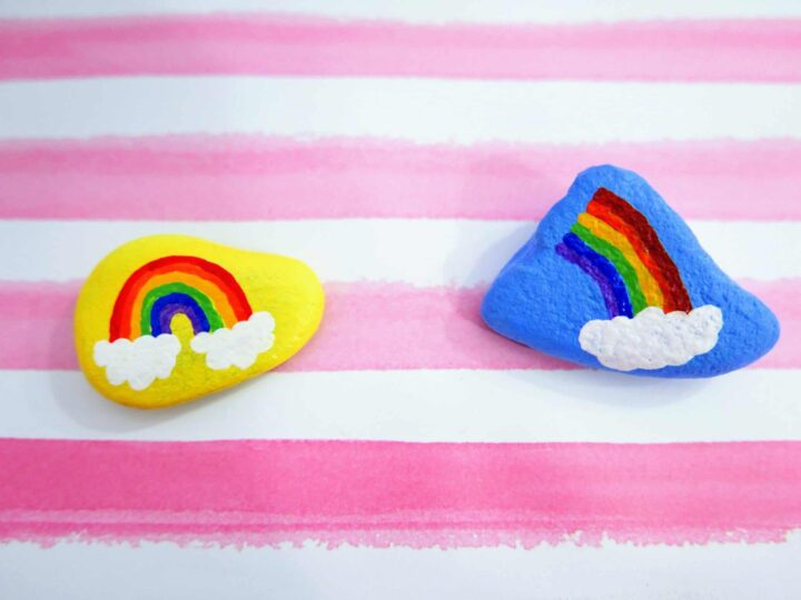 Rainbow Painted Rocks Blue and Yellow