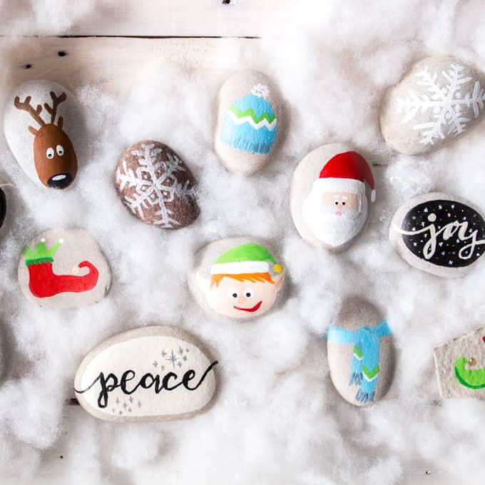 Festive Christmas Rock Painting Ideas