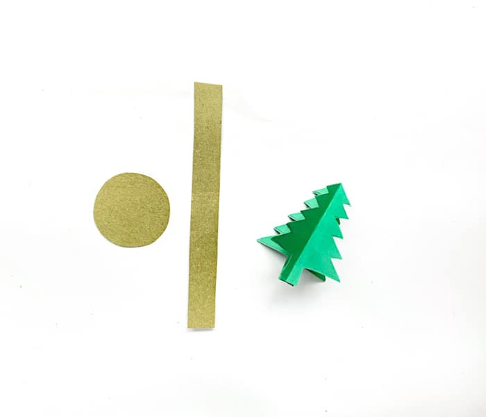 the christmas tree and gold paper for base