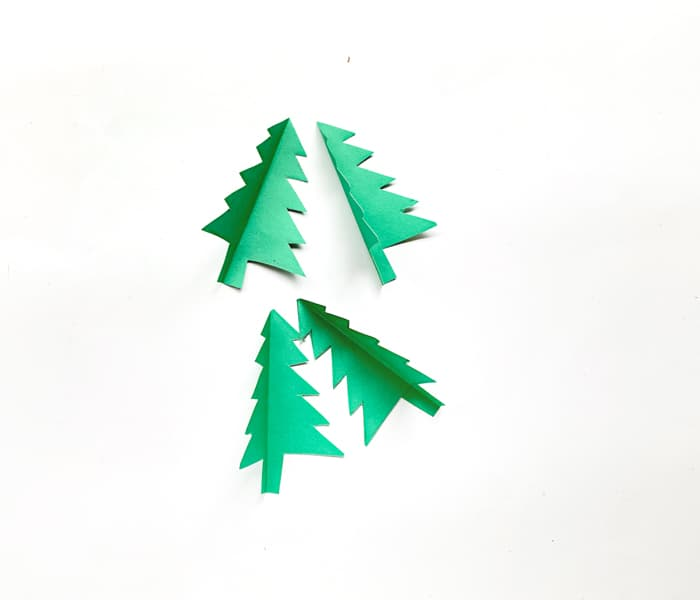 Green paper trees folded
