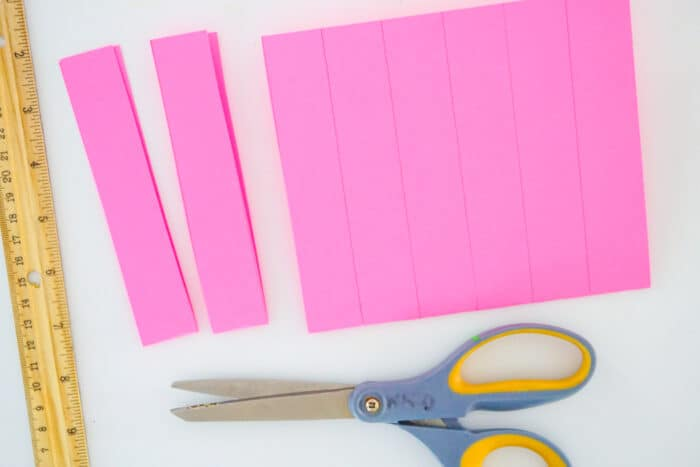 strips of pink paper