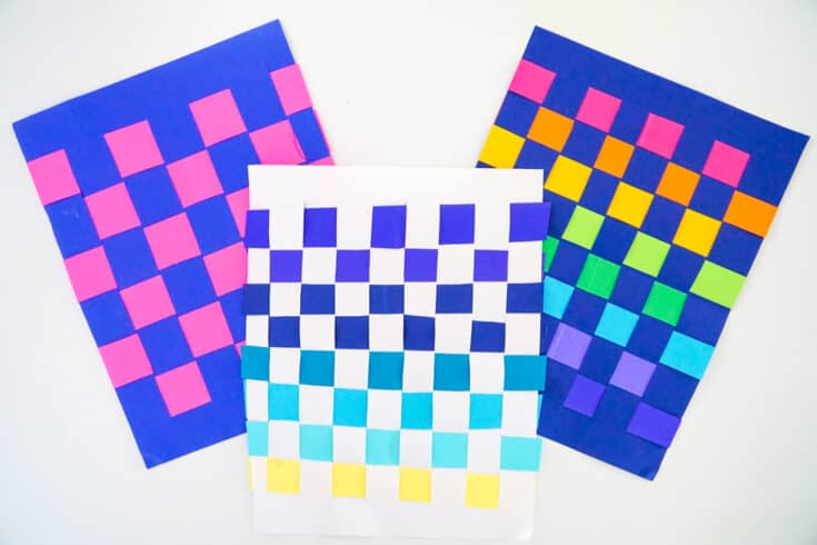 Three different Colored Paper Weaves
