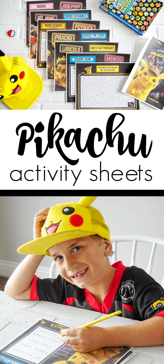 Free downloadable Pikachu Movie Activity Sheets with all the characters from the detective pikachu movie.