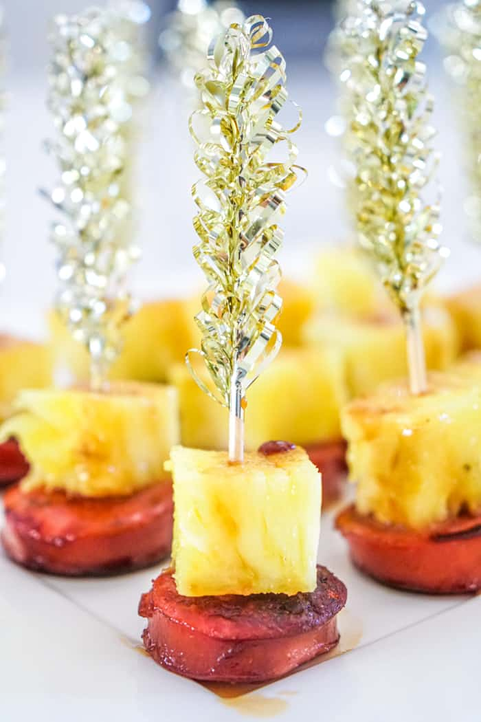 Sausage and Pineapple on a skewer
