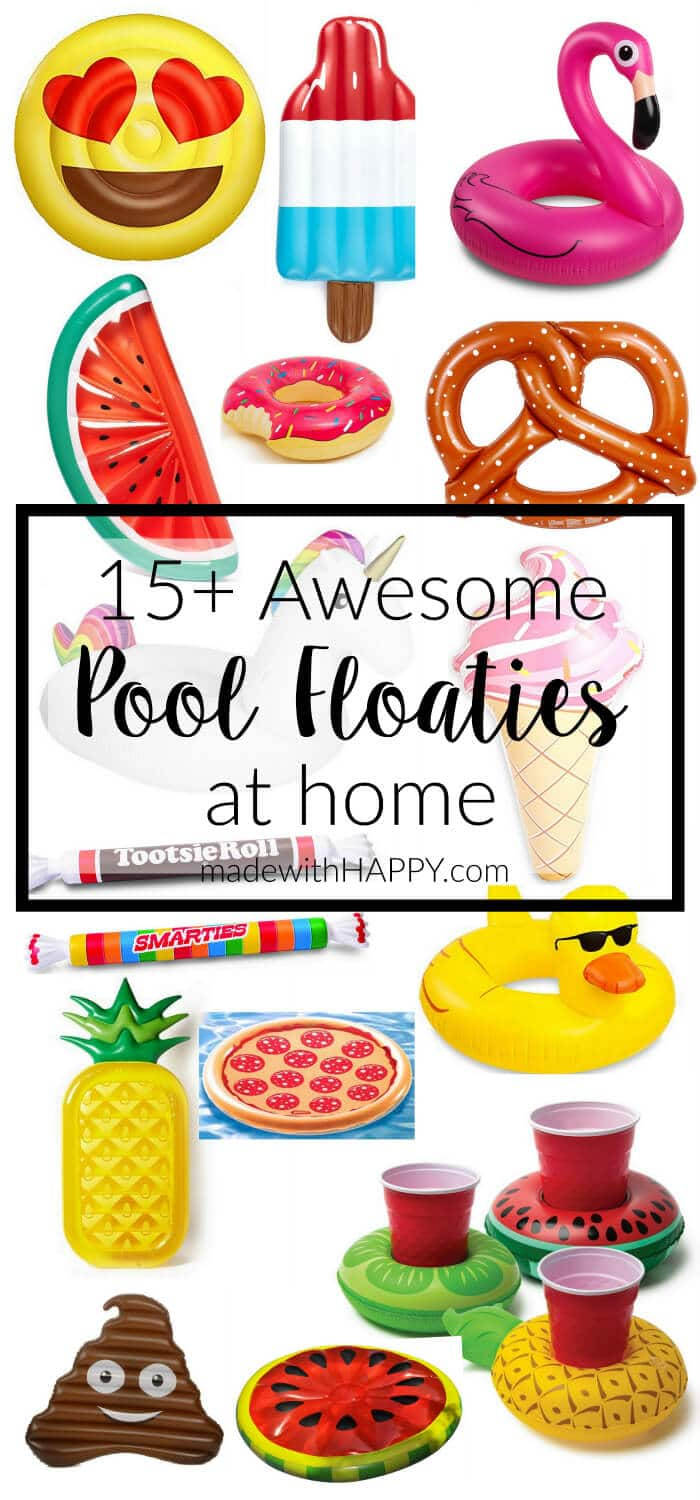 15+ Awesome Pool Floats for Home | pool lounge float| Fruit Pool Floats | Donut Pool Floaties | Watermelon Pool Floats | Pineapple Pool Floats | Flamingo Pool Floaties | www.madewithhappy.com