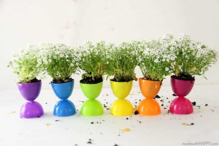 Plastic Easter Egg Crafts - planters empty and with plants