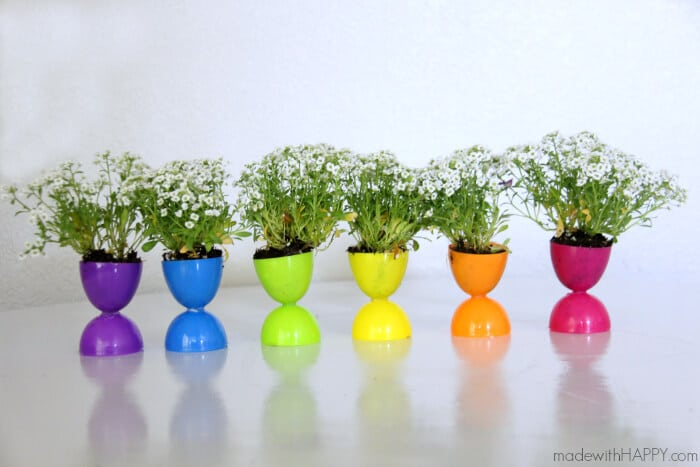 Plastic Easter Egg Crafts - Planter Centerpieces