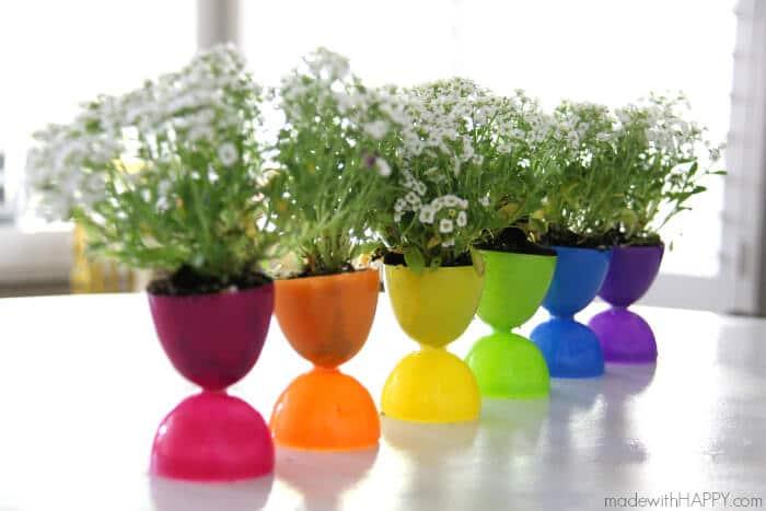 Plastic Easter Egg Crafts - Planter Centerpiece