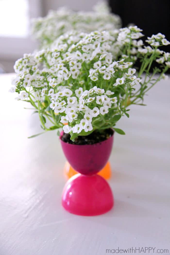 Plastic Easter Egg Crafts - Planters make great Easter Centerpieces