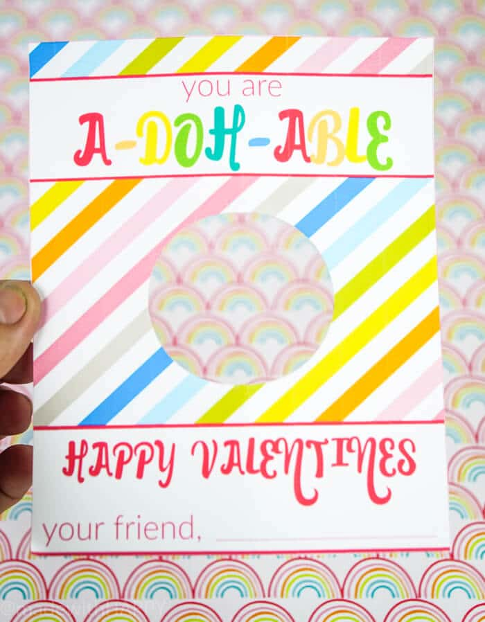Play Doh Valentines Printable with a hole in the middle