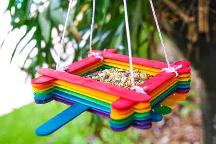Rainbow Craft Sticks Birdfeeder
