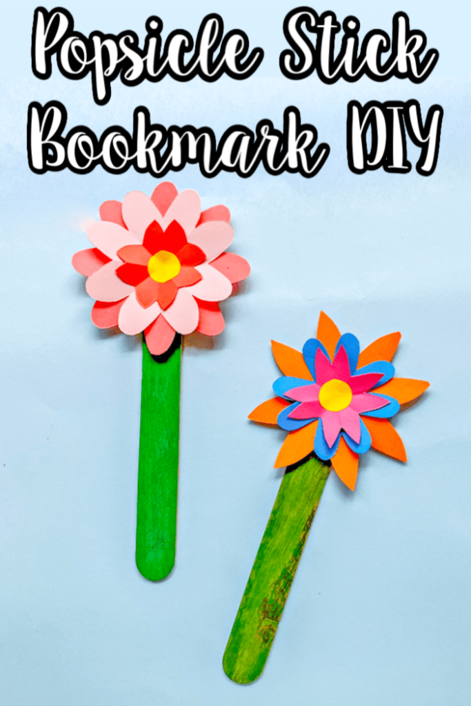 Two flower bookmarks with craft sticks