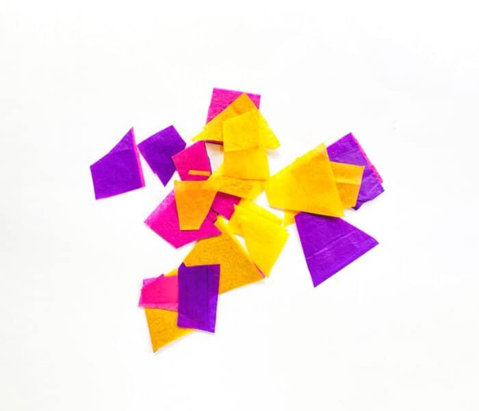 Tissue paper cut into squares