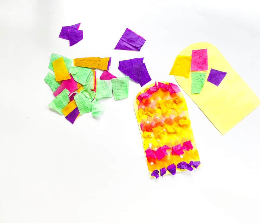 Glue on tissue paper