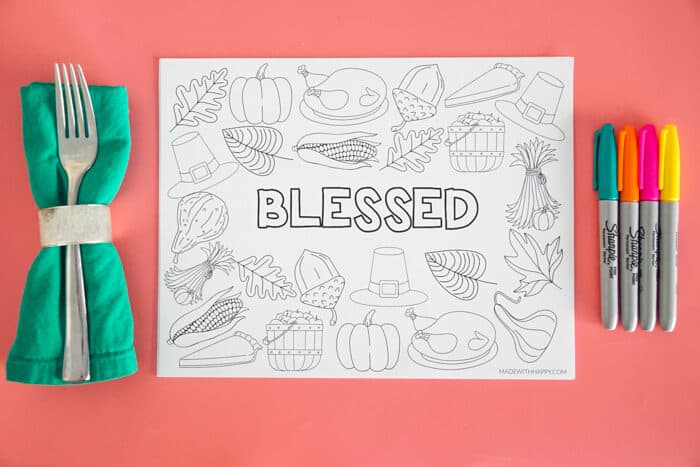 blessed printable placemat