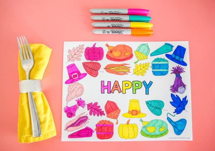HAPPY Printable Thanksgiving Placemat Colored in a Rainbow