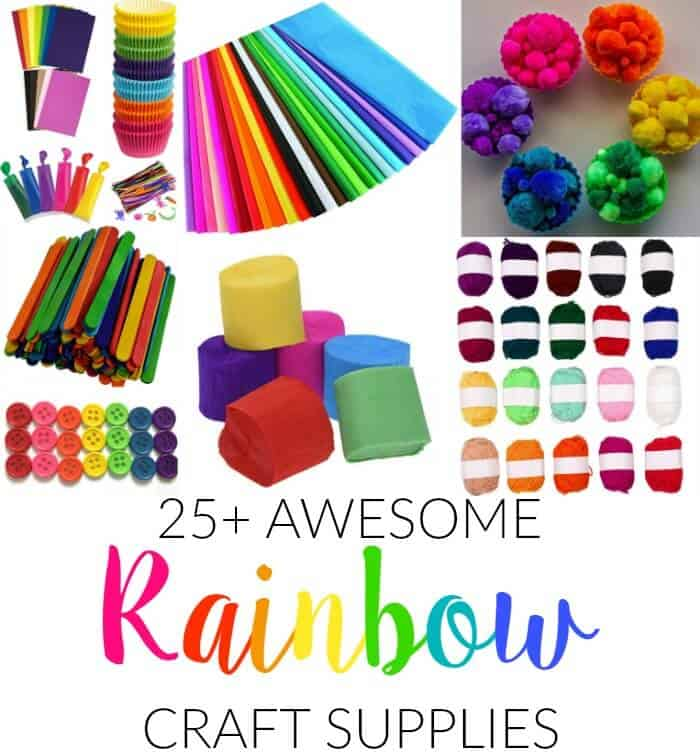 Rainbow Craft Supplies | Colorful Kids Crafts | All the craft supplies you need to keep you and your kids occupied for hours and hours. | Rainbow Popsicles, Rainbow Cupcake Wrappers, Rainbow Pom poms and more | www.madewithhappy.com