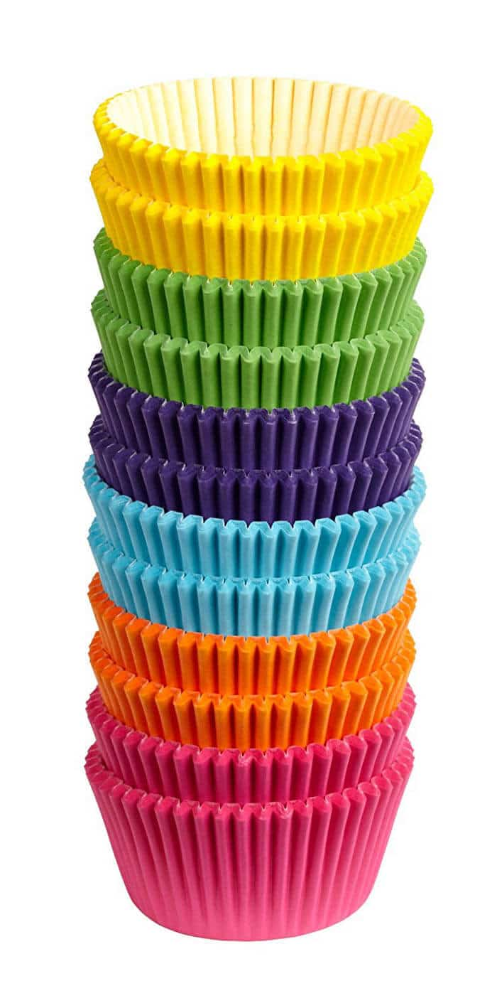 Rainbow Cupcake Wrappers | Rainbow Craft Supplies | Colorful Kids Crafts | All the craft supplies you need to keep you and your kids occupied for hours and hours. | Rainbow Popsicles, Rainbow Cupcake Wrappers, Rainbow Pom poms and more | www.madewithhappy.com