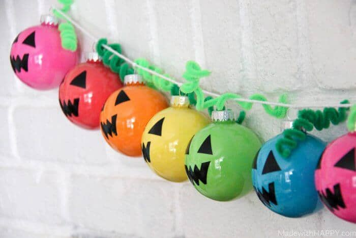 Rainbow Holiday Garland   Plastic Ornament Garland   Colorful Halloween Decorations   Bright Colored Ornaments   www.madewithhappy.com