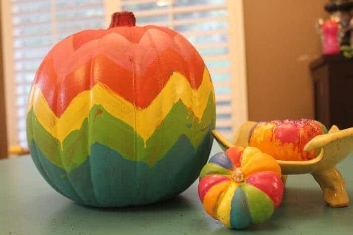Rainbow-Painted-Pumpkins