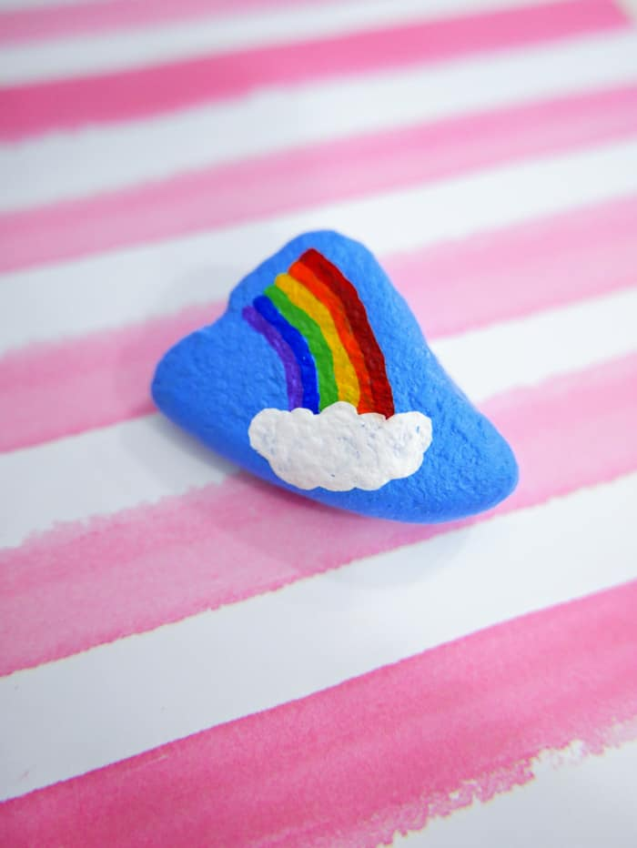 blue rainbow painted rock