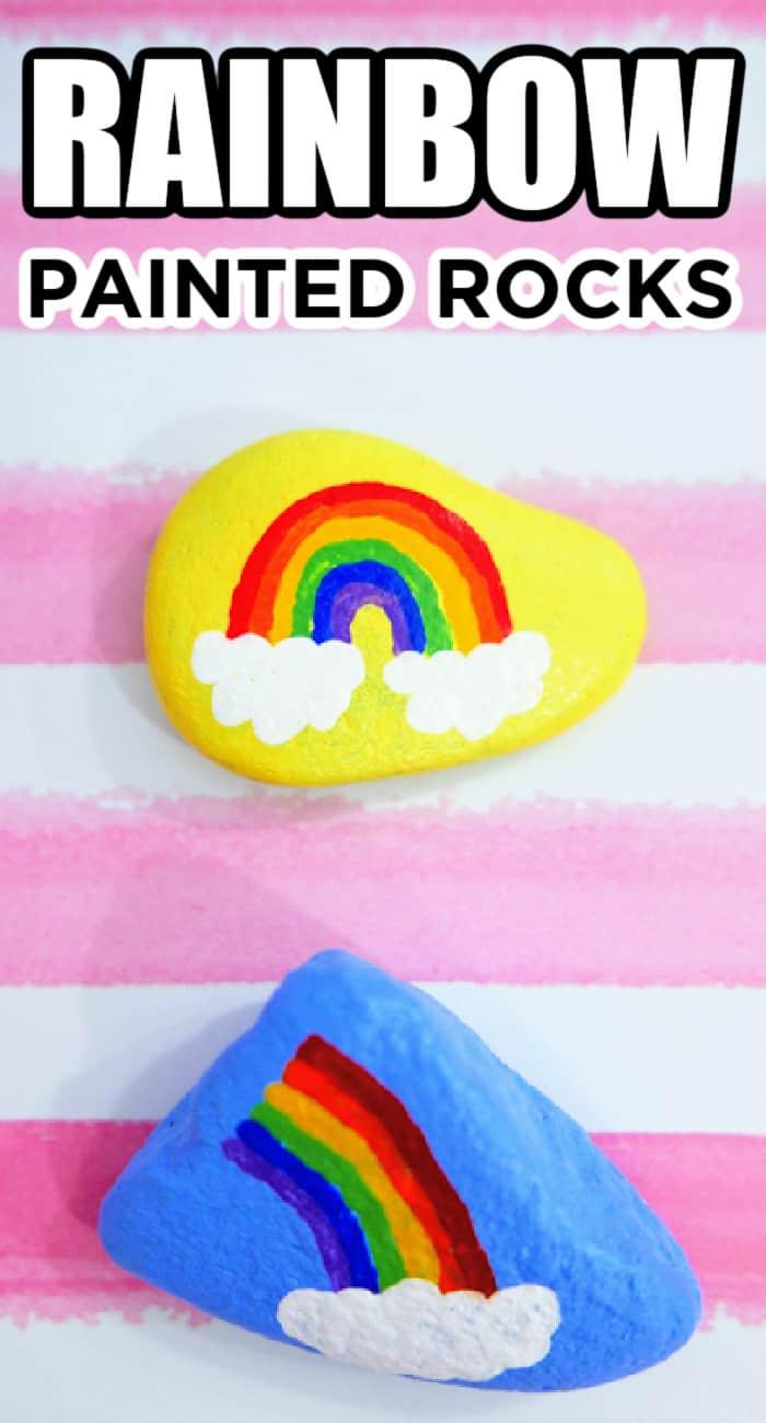 Kids Rock Painting Craft - Rainbows
