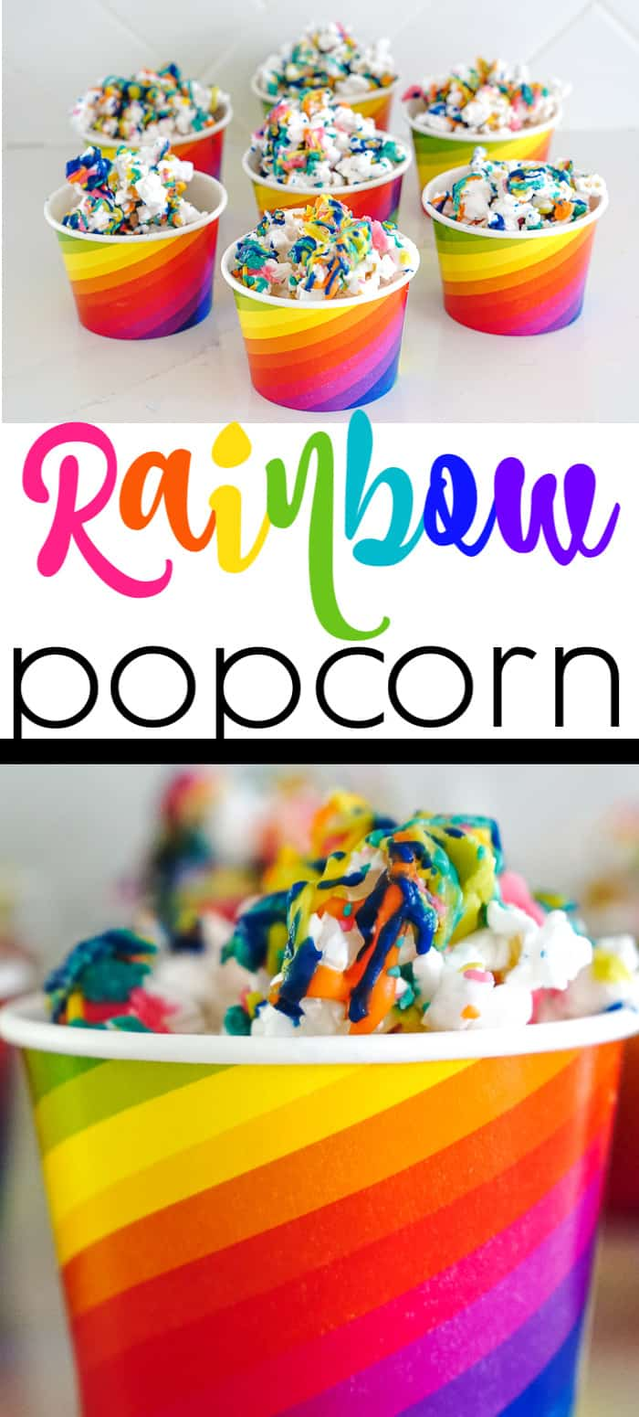 Rainbow Popcorn Ideas. There is nothing sweeter than turning up the color on your popcorn snack with this super fun rainbow popcorn.  Rainbow snacks for St. Patrick's Day.  Rainbow food.