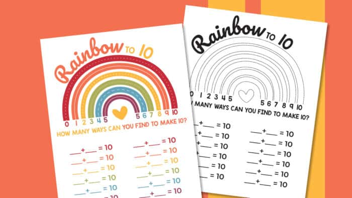 Rainbow Making 10 Worksheet - Made With HAPPY