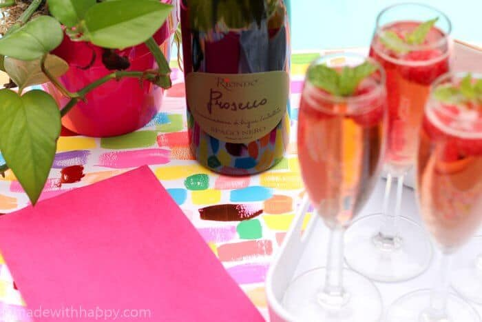 Prosecco Cocktail with Raspberries