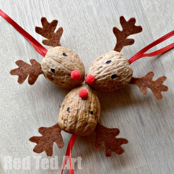 Walnut Crafts - Reindeer Ornament - Red Ted Art
