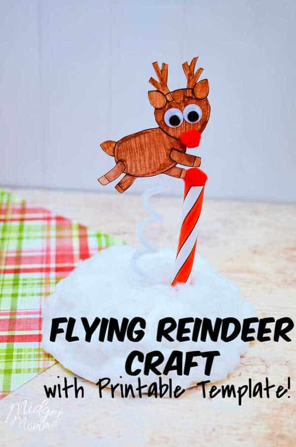 Flying Paper Reindeer Craft with Printable Template!