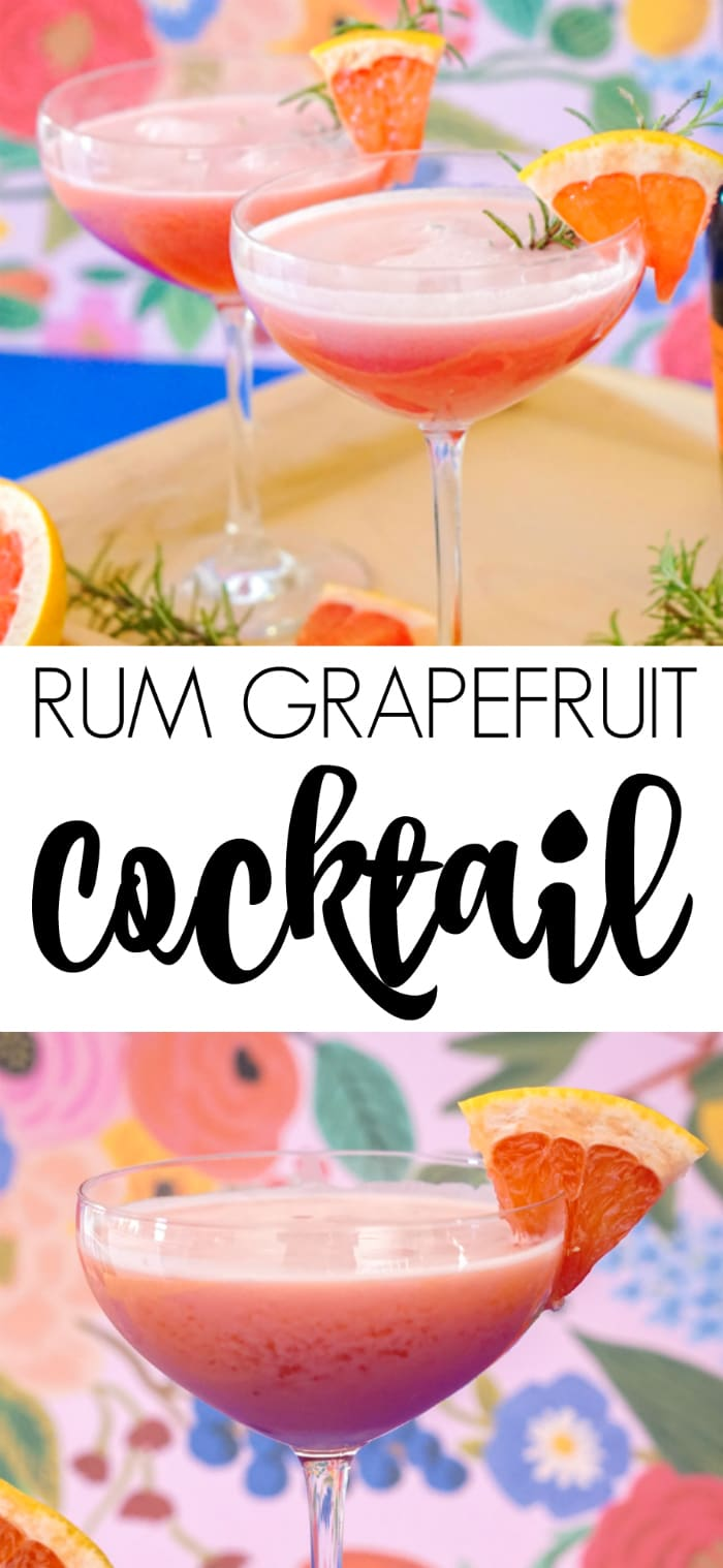 Rum Grapefruit Cocktail garnished with grapefruit and rosemary