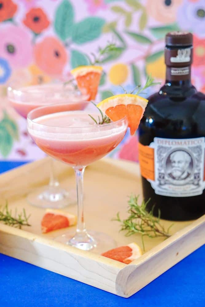 Rum Grapefruit Cocktail are perfect balance of tart grapefruit and coconut resulting in a delicious pink colored cocktail.