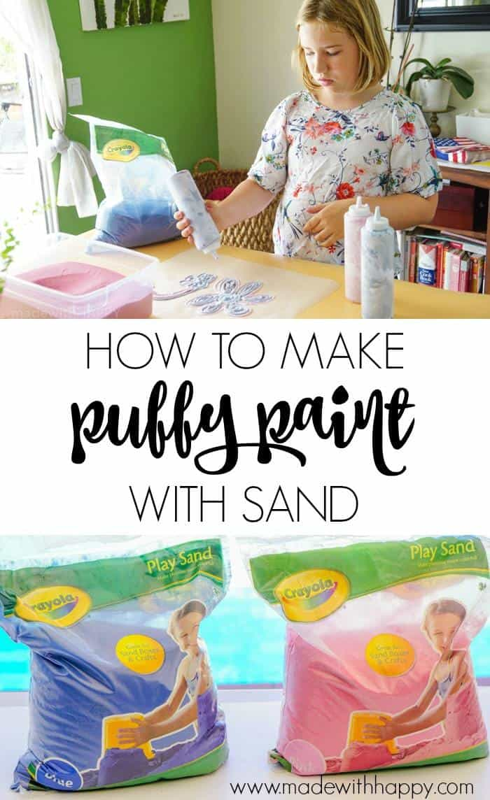 How to make Puffy Paint with Sand. and Shaving Cream. We're excited to be sharing how to make puffy paint using just two supplies. Kids crafts and kids art can be fun and and creative.