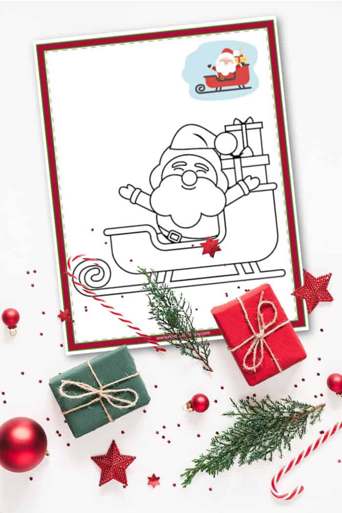 Santa Christmas Coloring Pages - Free Printable - Made With HAPPY