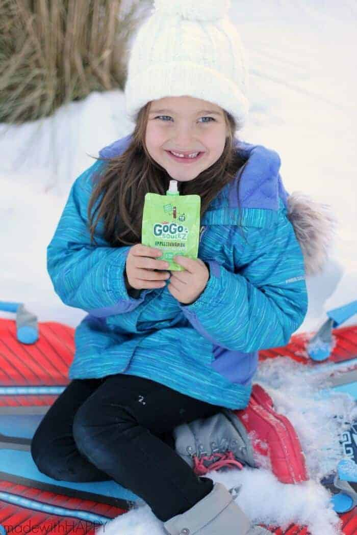 Tips for Snow Travel with Kids | Winter Travel with kids in the snow.  We're sharing some HAPPY tips to making sure its not overwhelming for the parents and that the kids are having fun | www.madewithHAPPY.com #GoGosqueeZSquad #ad