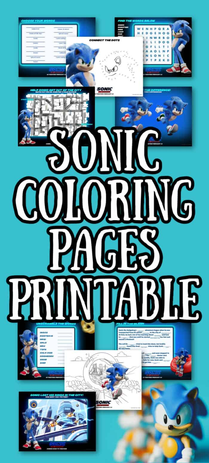 Sonic the hedgehog printable pages