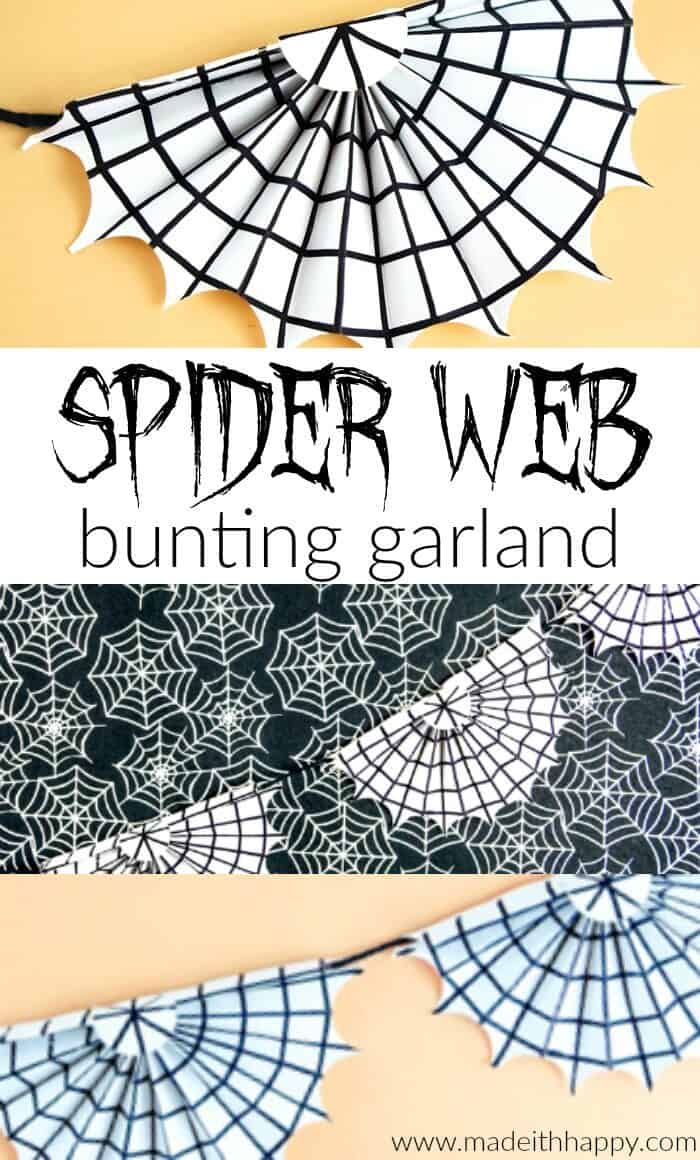 Spookify your space with this super cute spider web garland.  These are simple Halloween Decorations made out paper and a pen.  Non-scary Halloween decorations are great for houses with young kids or classrooms.  www.madewithhappy.com