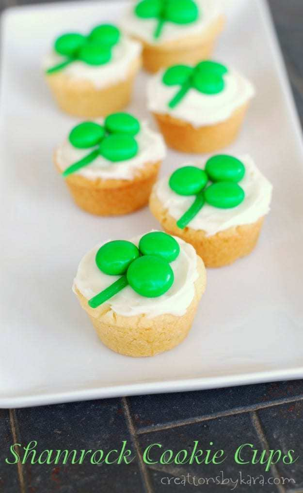 St. Patrick's day Shamrock Cookie Cups