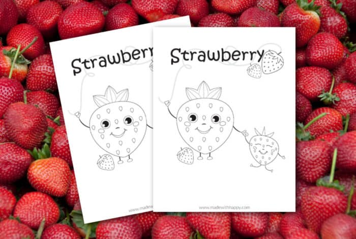 two coloring pages with strawberries on them