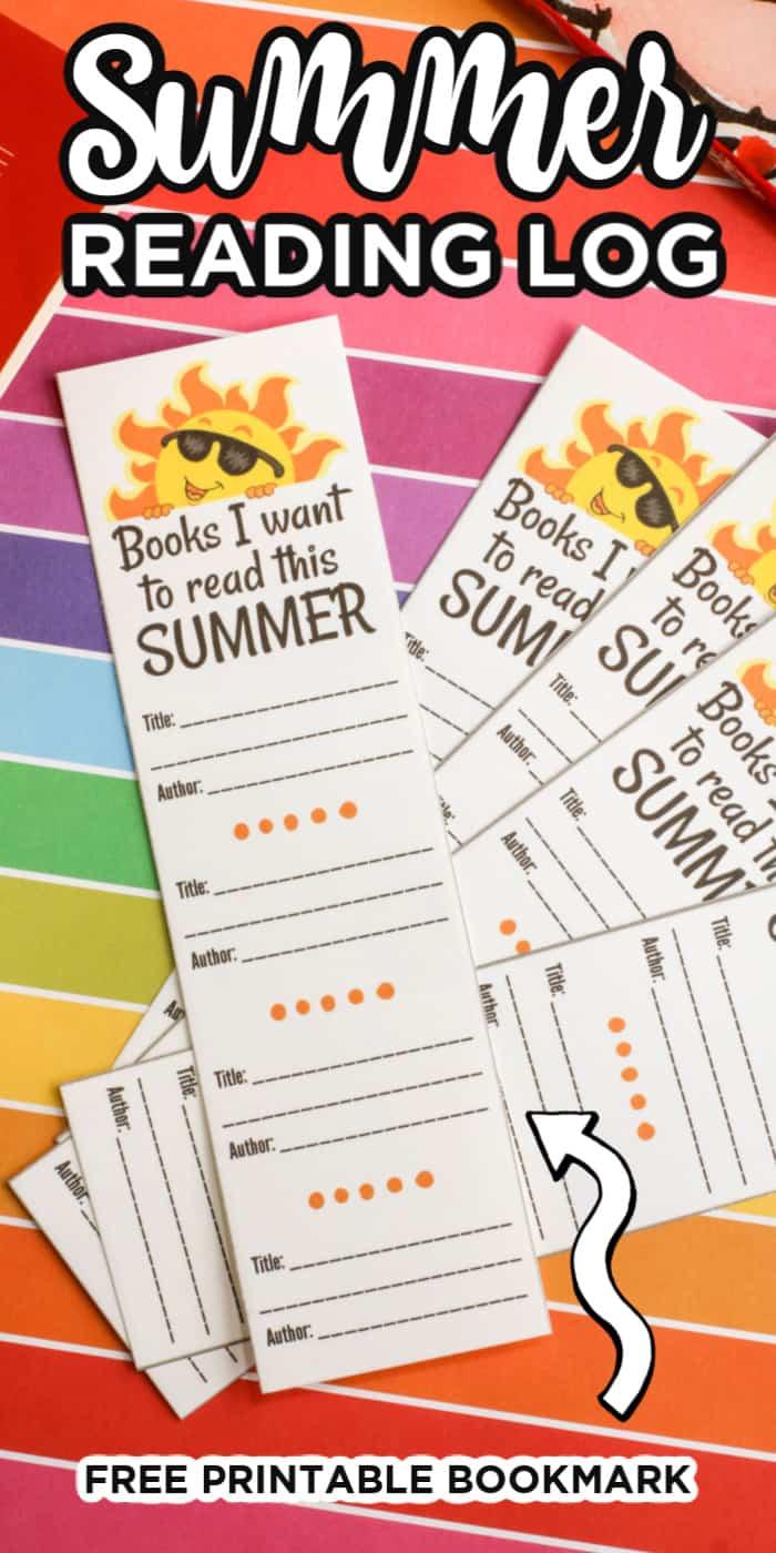 Summer Bookmark Reading Log