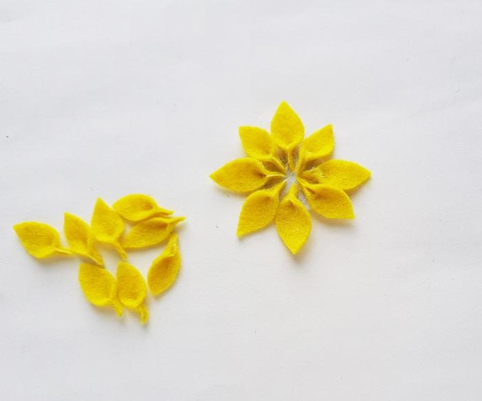 placing flower petals