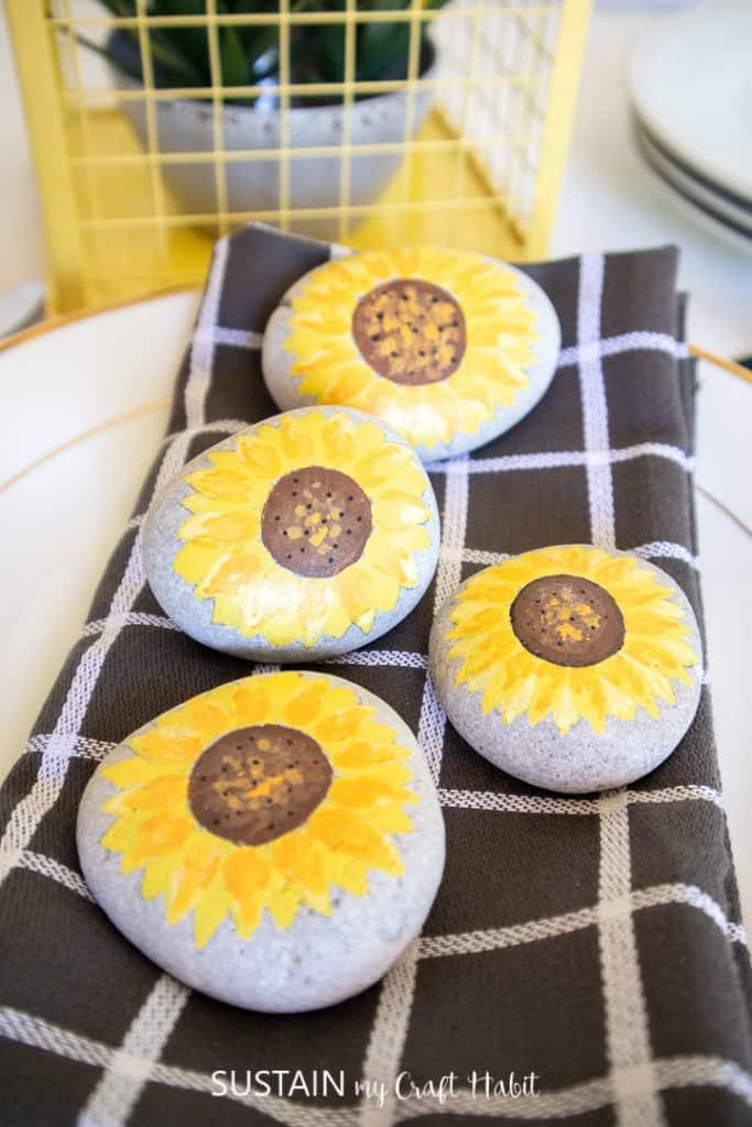 sunflower painted rocks