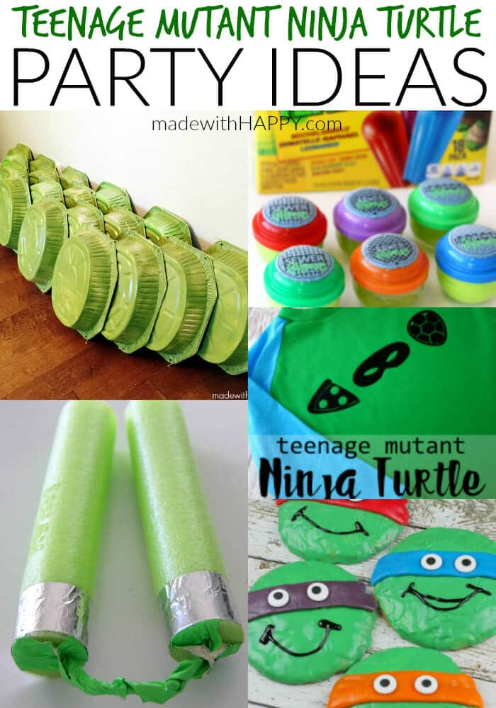Teenage Mutant Ninja Turtle Party Ideas. DIY Teenage Mutant Ninja Turtle Shells | TMNT Birthday Party Decorations | DIY TMNT Costume | www.madewithHAPPY.com