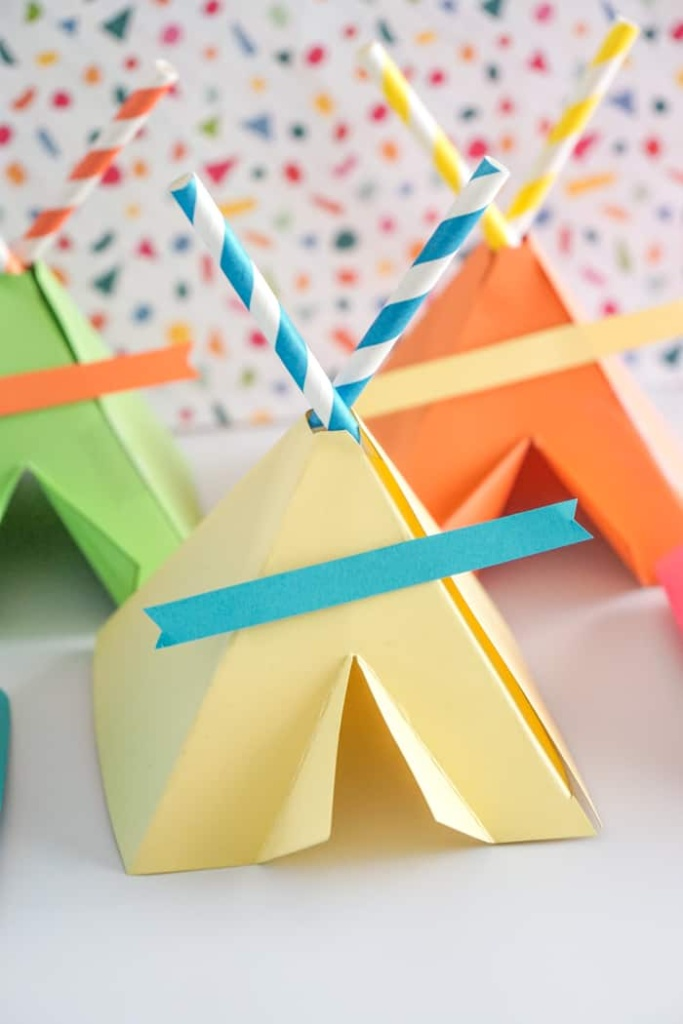 Bright colored paper teepees